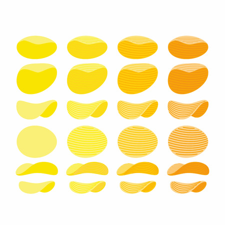 tastes: Set of potato chips. Golden Orange and yellow wavy chips from different angles with different tastes. Vector illustration.
