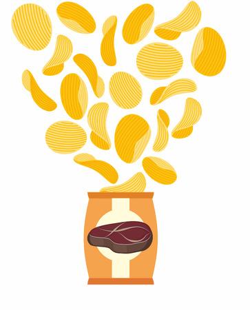 patatas: Patatas fritas con sabor de la carne frita. Embalaje patatas fritas y patatas volar. Sobre un fondo blanco. Ilustración vectorial