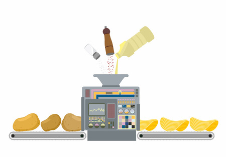 Machine for making potato chips. Production of deep frying potatoes with butter salt and pepper. Fresh potatoes is processed and it turns Golden chips. Control Panel for cooks. Vector illustration
