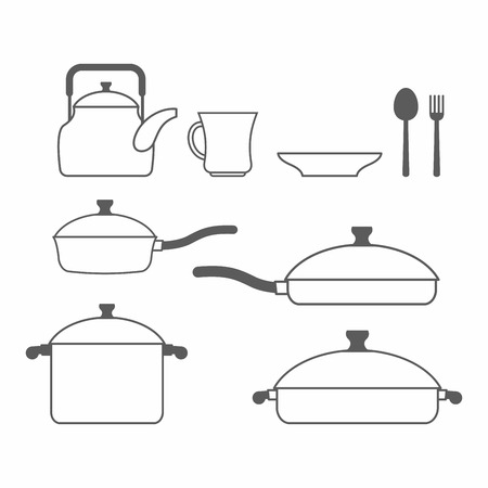 dishes set: Set of dishes. Kitchen utensils of lines. Vector illustration Illustration