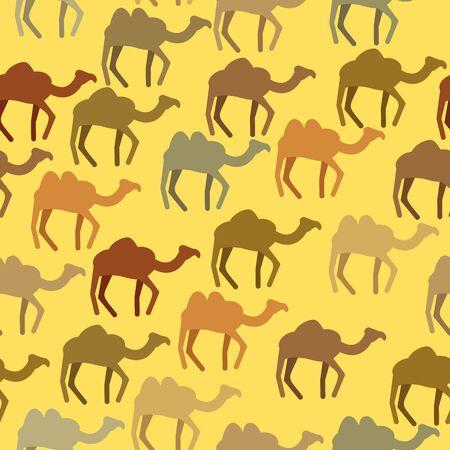 animales del desierto: Camellos sin patr�n. Antecedentes de los animales del desierto. Ornamento del vector. Vectores
