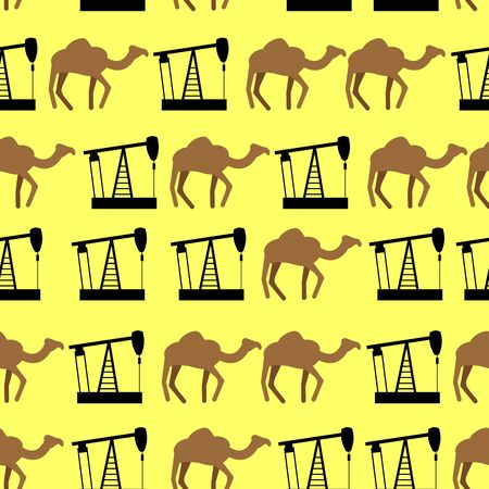 oilwell: Desert camels and oil pumps seamless pattern. Vector background for UAE.