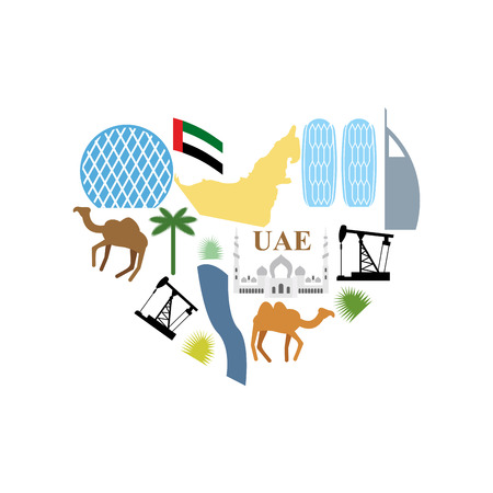 united arab emirate: I love UAE. Symbol Heart attractions of  United Arab Emirates. Map UAE and DESERT, camel and an oil rig. Skyscrapers and Abu Dhabi Sheikh Zayed White Mosque. Vector illustration Illustration