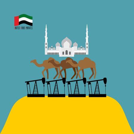 sheik: UAE Structure. Sheikh Zayed mosque white is based on three camels. Camels stand on oil rigs. Oil pumps are on desert. Infographics United Arab Emirates. Vector illustrations. Illustration