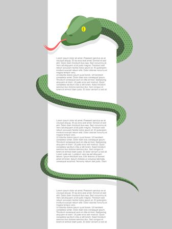 wrapped around: Snake wraps around. With space for text. Vector illustration. Reptile wrapped around a blank sign. Illustration