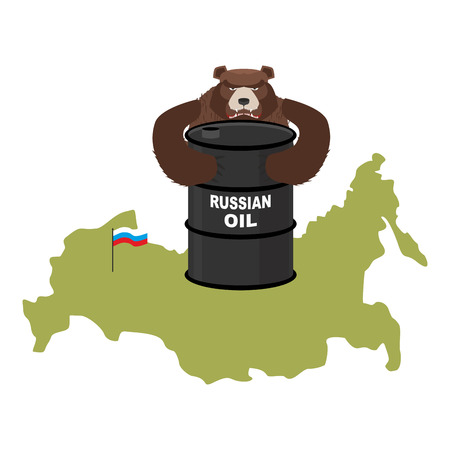 fuel provider: Barrel of oil on background maps of Russia. Flag of Russian Federation. Bear hugs a barrel of oil. Vector illustration.