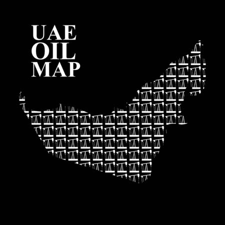 pumping: UAE oil map. Silhouette maps of United Arab Emirates of oil pumping rigs. Vector illustration