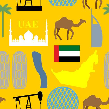 Patrón transparente Emiratos Árabes Unidos. Desierto y camellos y palmeras y rascacielos. Atracciones EAU. Vector de fondo.