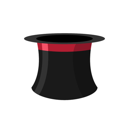 magician hat: Top hat magician on a white background. Black Hat Topper with Red Ribbon. Antique headdress for men. Vector illustration.