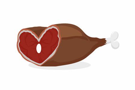 pork rib: Smoked ham heart-shaped. Meat on the bone. Gammon. Love meat. Vector illustration