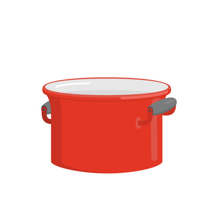 leon: Red pot. Tableware for cooking food. Kitchenware for cooking soup. Vector illustration
