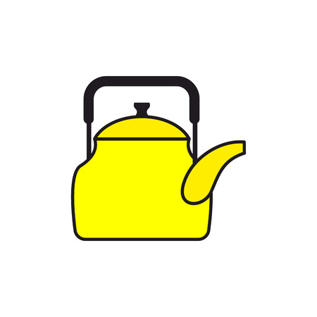 boiling water: Yellow teapot. Tableware for boiling water. Icon kitchenware. Vector illustration