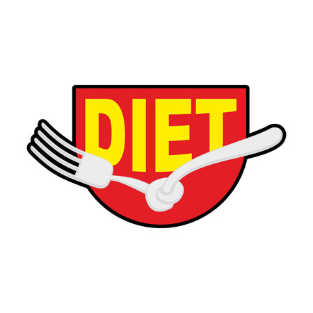 anorexia: Diet logo, sign. Emblem of Fork with node. Patch stop food. Forbidden to eat. Vector illustration