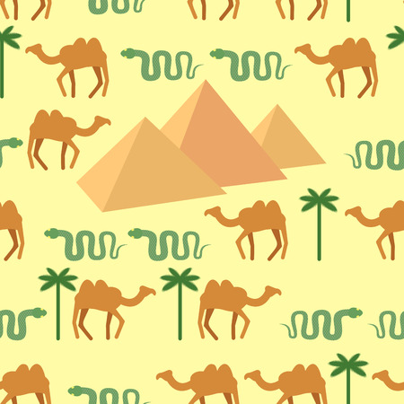 bedouin: Egypt. Seamless pattern Characters of Egypt: pyramids and camels. Palm and snake. Vector background. Illustration