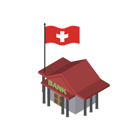 swiss flag: Swiss Bank. Reliable Bank with flag of Switzerland. Vector icon.