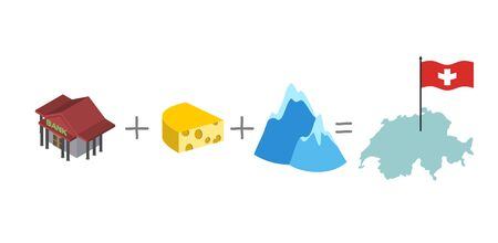swiss alps: Symbols of Switzerland. Mathematical formula: Bank and cheese plus Alps as well the map and flag of Switzerland. Vector illustration