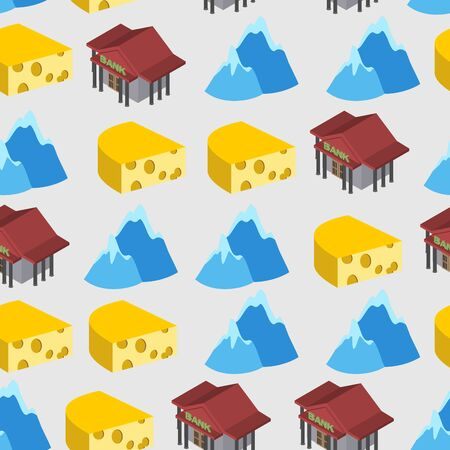 Seamless pattern of Switzerland. Bank and cheese. Vector background