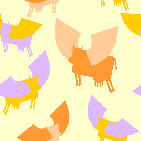 moo: Cow wings seamless pattern. Colored Silhouettes Flying animal. vector background of Fantastic mammal. Illustration