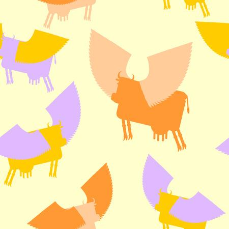 zoogdier: Koe vleugels naadloos patroon. Gekleurde Silhouetten Flying dier. vector achtergrond van Fantastic zoogdier.