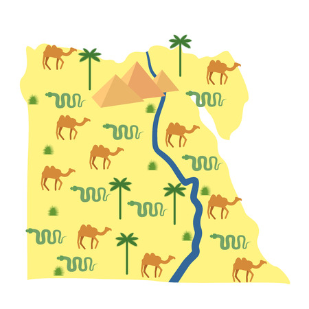 nile: Egypt map. Characters and attractions of Egypt: pyramids and camels. Palm and snake. River Nile. Vector illustration.