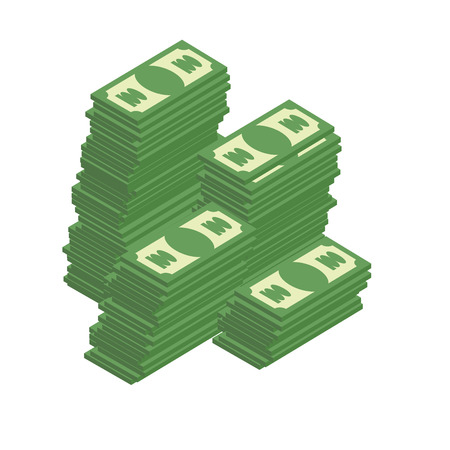 wealth: Bunch of cash. Piles of dollars. Wealth. Vector illustration. Illustration