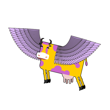 moo: Cow with purple wings. Flying animal. vector illustration. Fantastic mammal.