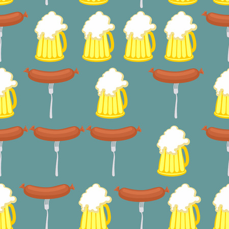que: Sausage and beer seamless pattern. Symbol of German Oktoberfest holiday. Vector background. Illustration