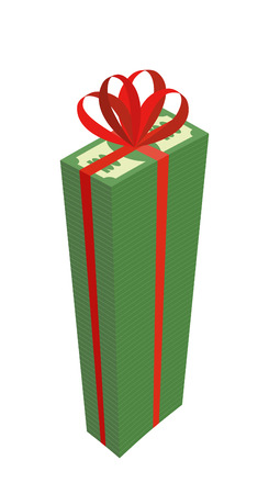 wad: Big wad of money with red bow. High Pile Of Dollars. Gift money. Vector illustration Illustration