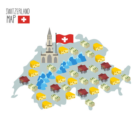 characteristics: Map of Switzerland. Attraction of Berne Cathedral. Characteristics and symbols of country: cheese and banks, money and  Alps. Vector illustration