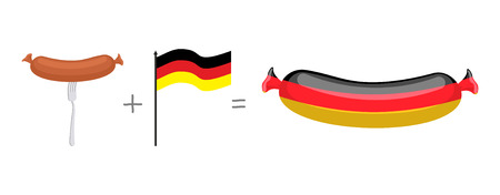 german sausage: Sausage and German flag. Made in Germany, traditional German quality meat products. Vector illustration. Illustration