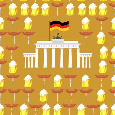 brandenburg: German seamless ornament. Symbols of Germany: beer and sausages.  German flag and  Brandenburg Gate. Vector background.