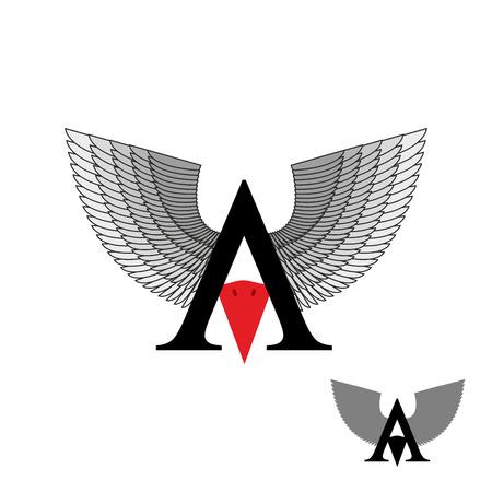 beak: letter A wings. Sign letter with beak bird. Vector illustration.