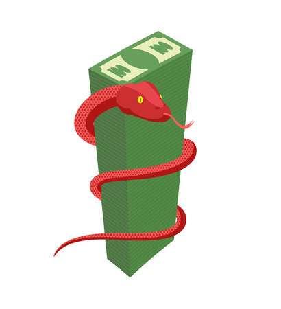 pile of money: Red Snake encircles large pile of money. Cobra and dollars. Dangerous reptile protects cash. Vector illustration