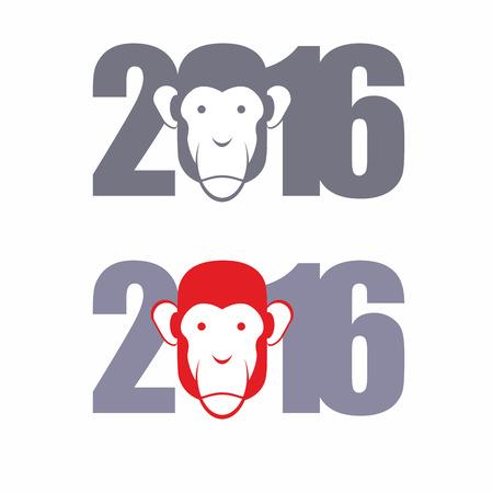 なでる: 新しい年 2016 年。火猿の年。ベクトル図