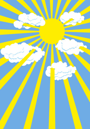 sun blue sky: Yellow summer sun. Blue sky. Rays of  Sun through white clouds. Vector illustration