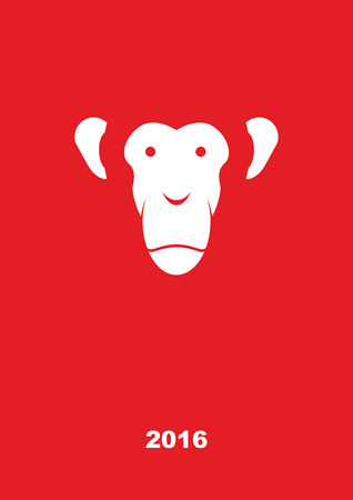 monkey face: Monkey year 2016. Year of fire monkey. Greeting card on a red background. Vector illustration. Illustration