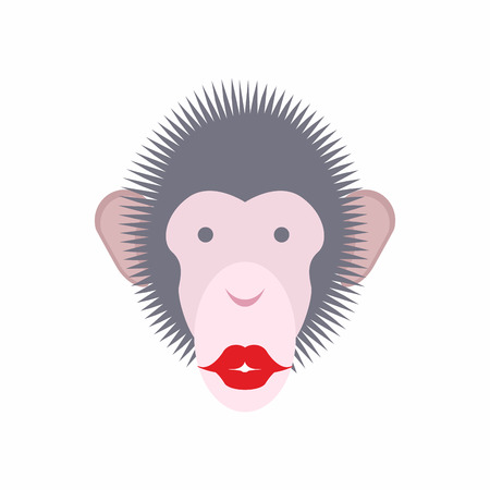africa kiss: Monkey face with lips. Kiss of  animal. Vector illustration