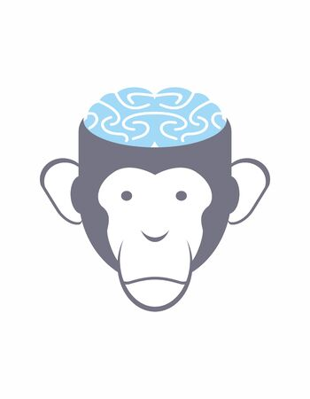 critique: Monkey brain Blue. Animal Head vector illustration.  for Research Institute.
