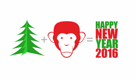 equals: Christmas tree and monkey. Mathematical formula: tree Plus head monkey equals happy new year 2016. Symbols of  new year. Year of fire monkey by  East calendar