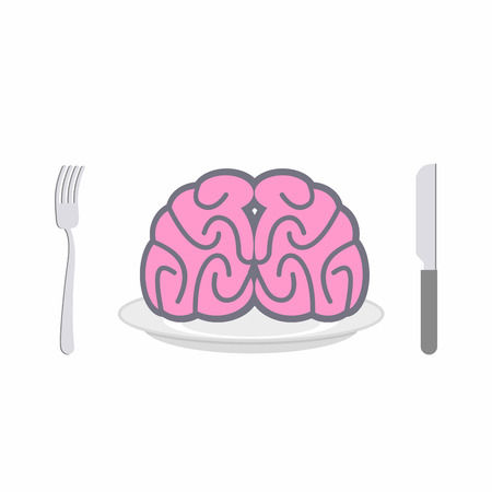 delicacy: Brain on plate. Cutlery: knife and fork. Allegory of Food vector illustration. Delicacy for zombies