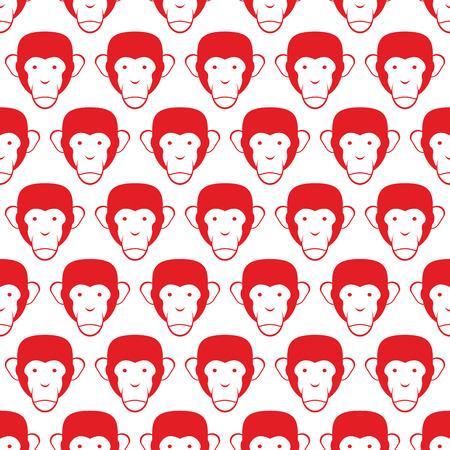 animal head: Monkey seamless pattern. Head of animal vector background.