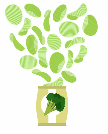 potato chip: Potato chips taste like broccoli. Packaging, bag of chips on a white background. Chips flying out from Pack. Vegetarians Food vector illustration.