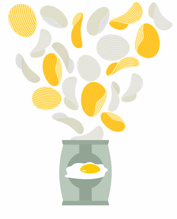 sunny side up: Potato chips taste like scrambled eggs. Packaging, bag of chips on a white background. Chips flying out from Pack. Unusual fantastic Delicacy. Food vector illustration.