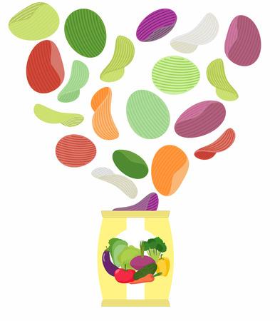 ポテトチップスは、野菜を味します。包装、白い背景上のチップの袋。チップのパックから飛んでくる。ベジタリアンのための珍しい珍味。栄養食