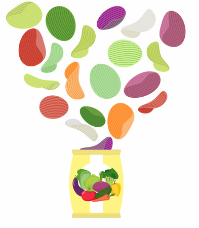 Potato chips taste of vegetables. Packaging, bag of chips on a white background. Chips flying out from Pack. Unusual Delicacy for vegetarians. Dietary Food vector illustration. Stock Illustratie