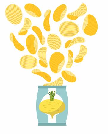 merienda: Papas fritas sabor de los nabos. Packaging, bolsa de papas fritas sobre un fondo blanco. Chips de vuelo a partir de paquete. Delicadeza para vegetarianos. Ilustración vectorial Alimentos.