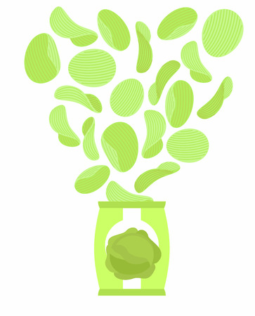 crunchy: Potato chips taste like cabbage. Packaging, bag of chips on a white background. Chips flying out from  Pack. Delicacy for vegetarians. Food vector illustration.