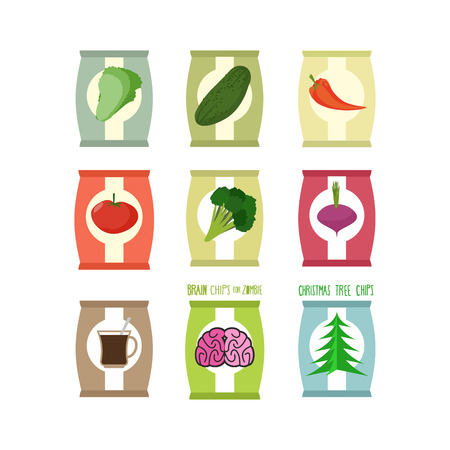 flavour: Set packs chips. Packaging unusual flavour: coffee and brain, cucumbe and broccoli. Chips especially for zombies. Chips for new year Christmas tree with taste. Food vector illustration.