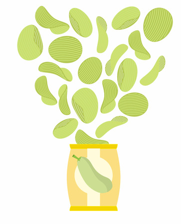 potato chip: Potato chips taste of Zucchini. Packaging, bag of chips on a white background. Chips flying out from Pack. Delicacy for vegetarians. Food vector illustration.