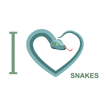 forked tongue: I love snakes Symbol of heart of snake.